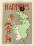 Vintage Harper's March Advertising Poster.